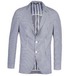 BOSS Hartlay Seersucker Blue & White Striped Blazer