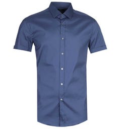BOSS Jats Slim Fit Short Sleeve Navy Shirt