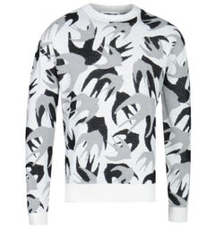 MCQ Alexander McQueen Patchwork Swallow White Knitted Sweater