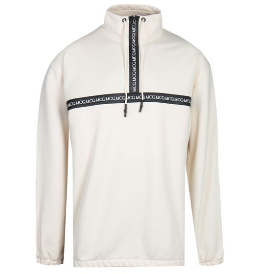 MCQ Alexander McQueen Taped Funnel Zip Neck Ecru Sweatshirt