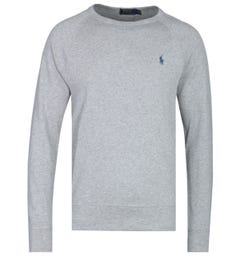 Polo Ralph Lauren Terry Crew Neck Grey Heather Marl Logo Sweatshirt