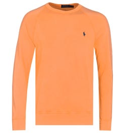 Polo Ralph Lauren Terry Crew Neck Pale Orange Logo Sweatshirt