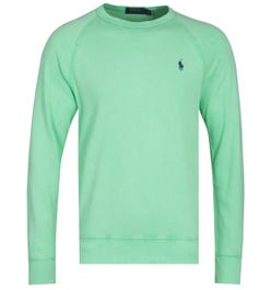 Polo Ralph Lauren Terry Crew Neck Lime Green Logo Sweatshirt