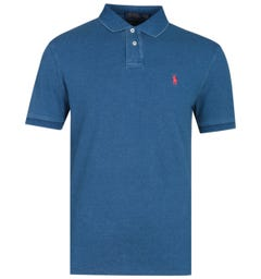 Polo Ralph Lauren Indigo Blue Slim Fit Basic Mesh Polo Shirt