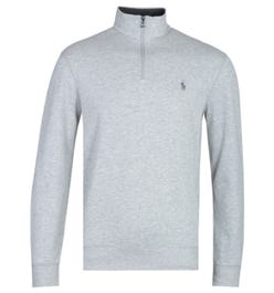 Polo Ralph Lauren Aviator Grey Marl Zip Neck Sweatshirt