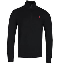 Polo Ralph Lauren Black Zip Neck Pima Cotton Sweater