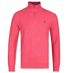 Polo Ralph Lauren Rosette Red Zip Neck Pima Cotton Sweater