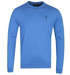 Polo Ralph Lauren Pima Cotton Royal Blue Crew Neck Knit Sweater
