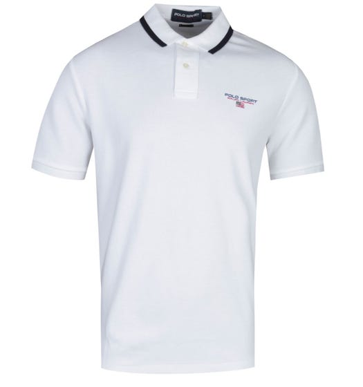 Polo Sport Classic Fit Short Sleeve Knitted White Polo Shirt