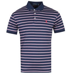 Polo Ralph Lauren French Navy Striped Pima Cotton Polo Shirt