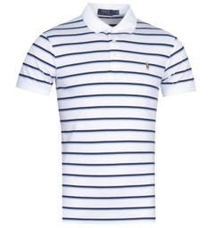 Polo Ralph Lauren White & Two-Tone Blue Striped Pima Cotton Polo Shirt