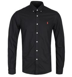 Polo Ralph Lauren Garment Dyed Slim Fit Long Sleeve Black Shirt