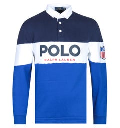 Polo Ralph Lauren Multi Coloured Navy, Blue & White Rugby Shirt