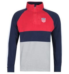 Polo Ralph Lauren Grey, White & Navy Zip Neck Fleece Sweater