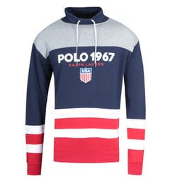 Polo Ralph Lauren Striped Drawstring Collar Navy Sweatshirt