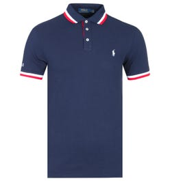 Polo Ralph Lauren Slim Fit Tipped Navy Polo Shirt