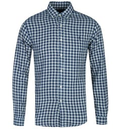 Polo Ralph Lauren Slim Fit Flannel Check Blue Long Sleeve Shirt
