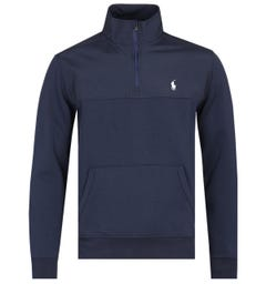 Polo Ralph Lauren Quarter-Zip Nylon Panel Navy Sweatshirt