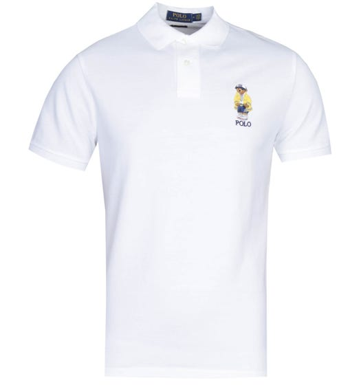 Polo Ralph Lauren Custom Slim Fit Polo Bear Logo White Polo Shirt