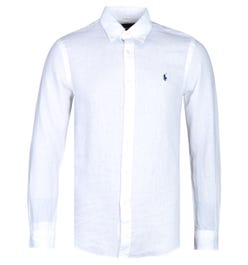 Polo Ralph Lauren Slim Fit Long Sleeve White Linen Shirt