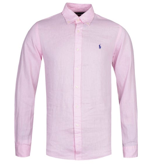Polo Ralph Lauren Slim Fit Long Sleeve Pink Linen Shirt