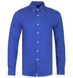 Polo Ralph Lauren Slim Fit Long Sleeve Ocean Blue Linen Shirt