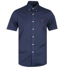 Polo Ralph Lauren Slim Fit Garment Dyed Navy Short Sleeve Shirt