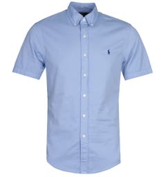 Polo Ralph Lauren Slim Fit Garment Dyed Blue Short Sleeve Shirt
