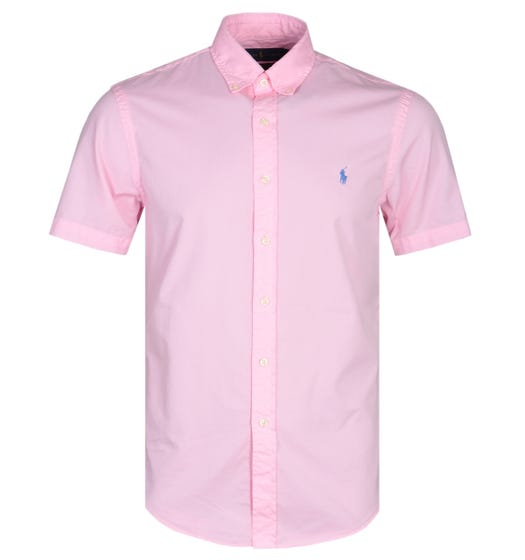 Polo Ralph Lauren Slim Fit Garment Dyed Pink Short Sleeve Shirt
