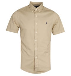 Polo Ralph Lauren Slim Fit Garment Dyed Surrey Tan Short Sleeve Shirt