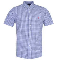 Polo Ralph Lauren Custom Fit Seersucker Blue Short Sleeve Shirt