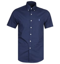 Polo Ralph Lauren Slim Fit Navy Short Sleeve Poplin Shirt
