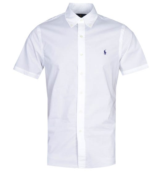 Polo Ralph Lauren Slim Fit White Short Sleeve Poplin Shirt