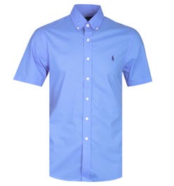 Polo Ralph Lauren Slim Fit Blue Short Sleeve Poplin Shirt