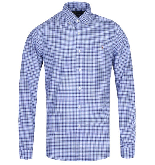 Polo Ralph Lauren Slim Fit Small Checked Long Sleeve Blue Shirt