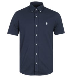Polo Ralph Lauren Short Sleeve Aviator Navy Mesh Shirt