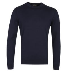Belstaff Dark Ink Moss Crew Neck Knitted Sweater