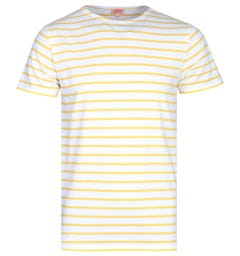 Armor Lux Short Sleeve Yellow & White Stripe T-Shirt