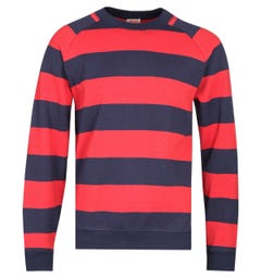 Armor Lux Striped Crew Neck Navy & Red Sweatshirt