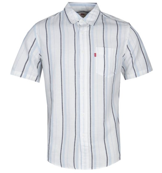 Levis Short Sleeve Standard Fit Blue Stripe White Shirt