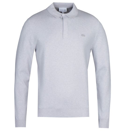 Lacoste Long Sleeve Snow Grey Marl Knitted Polo Shirt