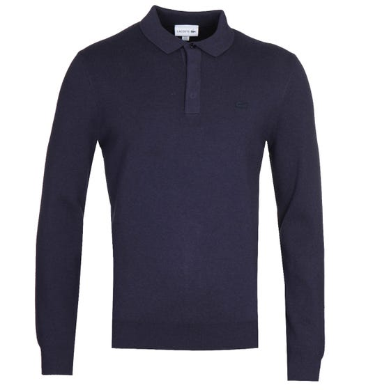 Lacoste Long Sleeve Navy Knitted Polo Shirt