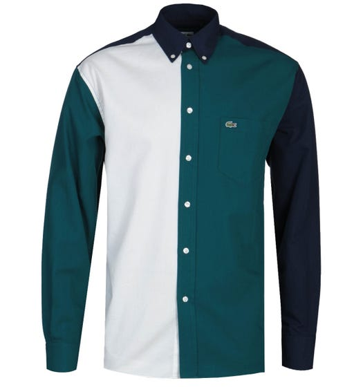 Lacoste Relaxed Fit Tri-Colour Navy, Green & White Long Sleeve Shirt