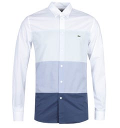Lacoste Regular Fit Bue Tones Block Front White Long Sleeve Shirt