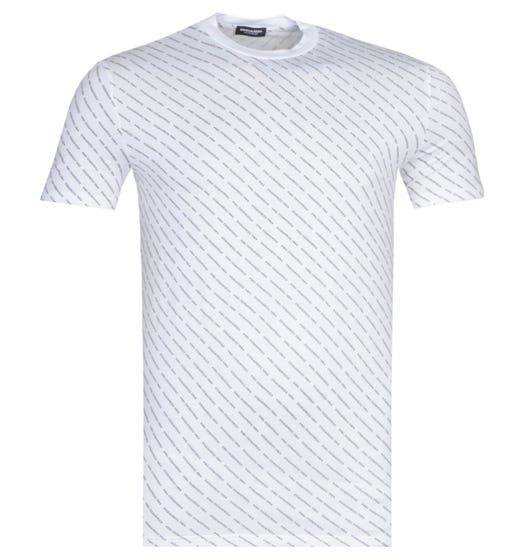 DSquared2 All Over Logo White T-Shirt