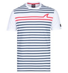 Paul & Shark Contrast Striped White T-Shirt