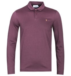 Farah Armiage Mercerised Long Sleeve Burgundy Polo Shirt