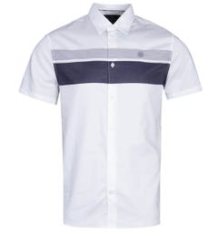 Aquascutum Wolcot Contrast Stripe White Short Sleeve Shirt