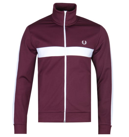 Fred Perry Contrast Panel Burgundy Track Jacket