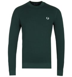 Fred Perry Waffle Textured Evergreen Crew Neck Sweater